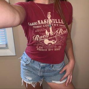 VTG Nashville Red Guitar Tee Shirt